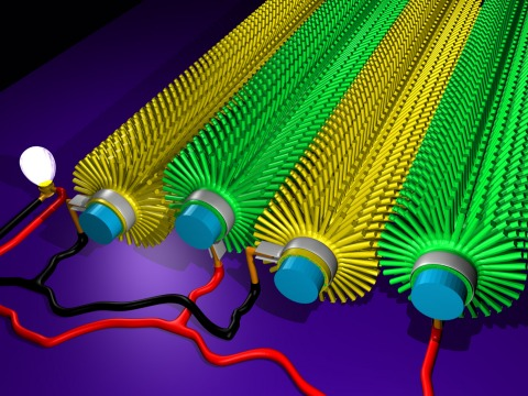 実際に配線したピエゾ素子による発電繊維のイメージ図