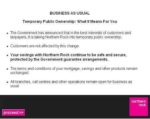 ノーザン・ロック銀行公式サイトのトップページ。「通常通り業務を行なうので心配するな」などと説明している
