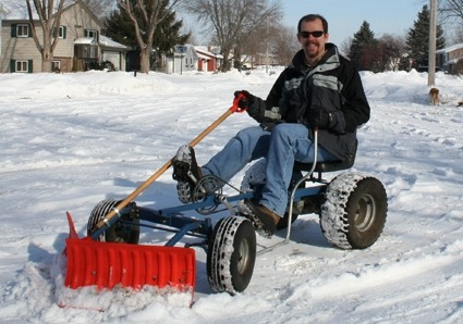 Pedal-powered Snowplow