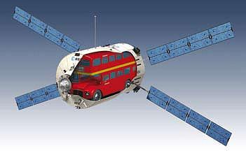 解説パンフレットから、「大きさが分かる図式」。実際に2階立てバスがATV内に搭載されるわけではない(笑)