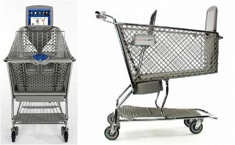 MediaCart提供の未来志向的ショッピングカート。出っ張りにも見える液晶モニタ部分は重ねて収納されている時は横倒しになり、お客が取り出すと自動的に立ち上がる仕組み