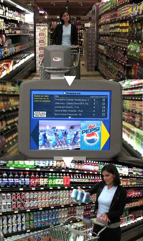 商品を散策しつつ缶ジュースコーナーの横を通り過ぎる。するとモニタ上には「奥さん、ダイエットペプシがお買い得ですよ」の広告。なるほど、とばかりに「後押し」され、商品に手が届く。