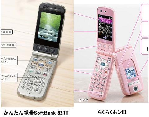 今回「似ている」と指摘された「かんたん携帯 SoftBank 821T」(左)と「らくらくホンIII」(右)