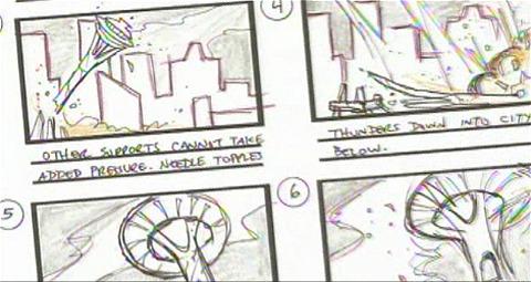 印象深い建物や景色を元にストーリーボードが作られる。