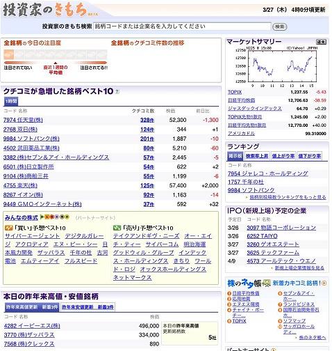 「投資家のきもち」トップページ