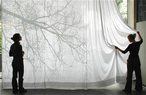 一見ごく普通の白いカーテンに見える。しかしこのカーテン、本物の陰ではなくカーテンに描かれた模様。しかもその模様は……