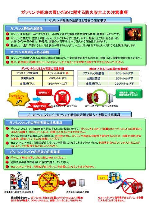 ガソリンや軽油の買いだめに関する防火安全上の注意事項(一部)