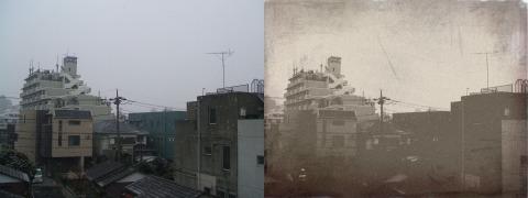 雪の日に撮影した情景写真。現代風ビルなのに写真そのものは幕末調