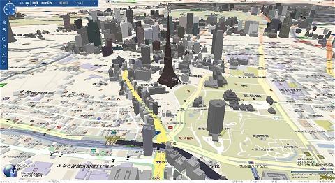 東京駅をやや斜め上から見た図(上)と、東京タワーとその周辺のようす(下)。3Dデータが入力されていない部分は平坦な地図のみが表示される。