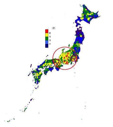 市区町村別平均寿命(男性)(赤丸は当方で追加)