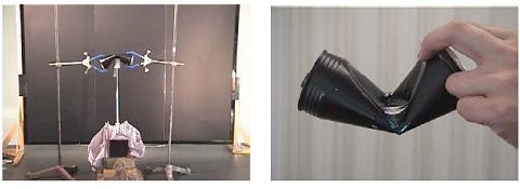 実験装置(左)と飛び出した中棒で凹んだ空き缶(右)