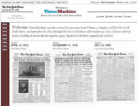 タイムズマシン。サンプルもいくつか閲覧可能。左端にはくだんの「タイタニック号」の記事が。
