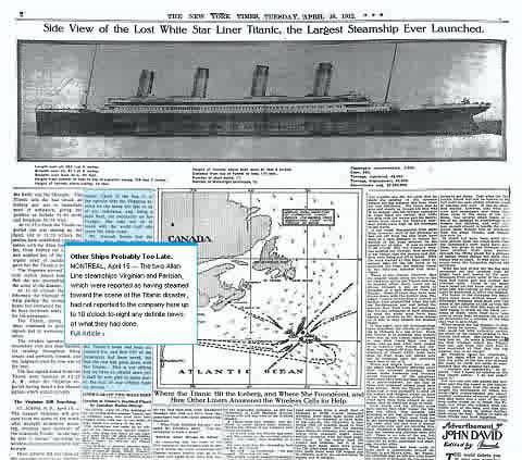 タイタニック号関連の記事。カーソルを合わせるとその部分の概要テキストが表示。クリックすると該当部分が拡大表示される。