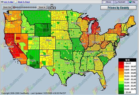 アメリカのガソリン価格分布表。3.7ドル以下で安定している州と、4ドル以上に高騰している州があることが分かる。