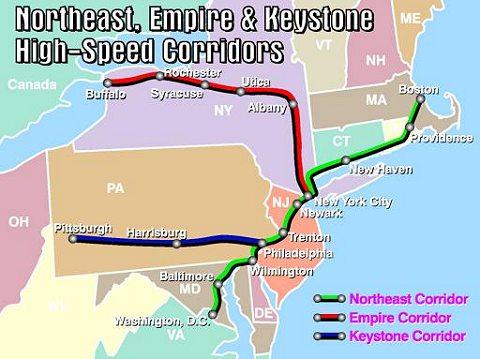 緑色の路線が「The Northeast corridor」こと北東回廊線