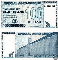 ebayに出品されている1000億ジンバブエ・ドル札イメージ