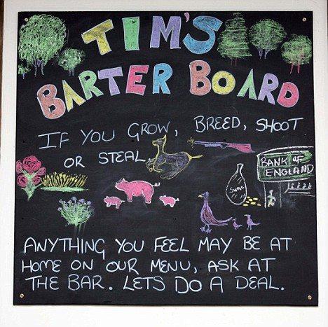 パブ内の黒板