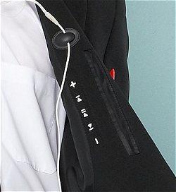 iPodを操作するコントロールボタンへの位置確認のための刺繍イメージ