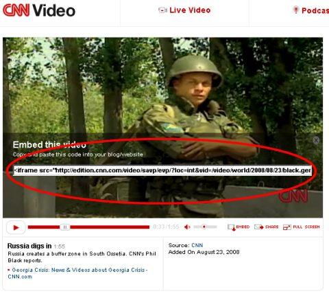 動画を選んだら画面下部のEMBEDをクリック。表示されるタグが貼り付け用のもの。