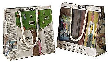 新聞紙リサイクル型エコバッグ「RECYCLED NEWSPAPER MARKET BAG」