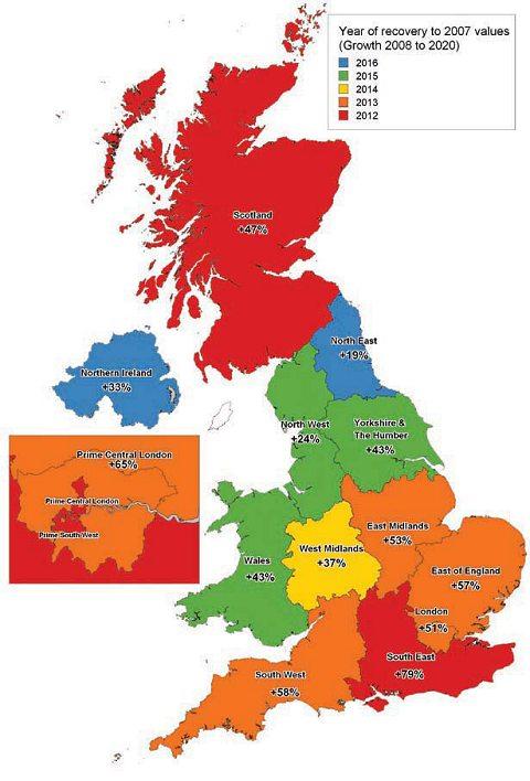 イギリス全土における、2007年のピーク時の住宅価格にまで値が戻る予想年数(Savills資料より)。色が赤っぽい地域ほど早く復帰する。また、地域名下の「%」は、住宅価格が回復するであろう2020年において、2007年の平均価格と比べてどれくらい値が上がっているかを示している。