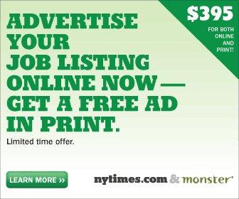 「期間限定:395ドルでオンライン広告で求人広告を出そう。プリント(新聞)での広告もタダで掲載できるよ」