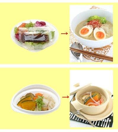料理具体例。上がバルサミコドレッシング彩サラダを用いたアジアンカレーうどん、下がナッツソースと温野菜サラダを使った根菜のお手軽クリームシチュー