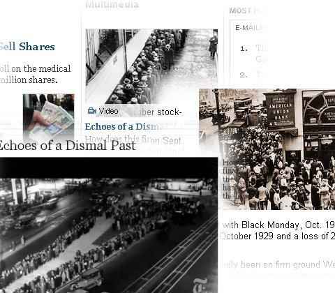 80年近く前の「世界大恐慌」の特集などが多く見かけられるようになった