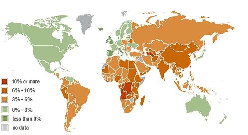 2009年の経済成長見通し(世界地図)