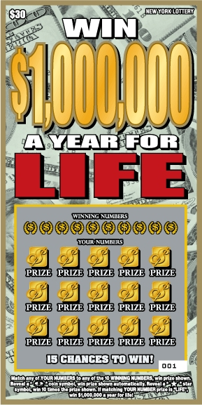 NEW YORK LOTTERY:WIN $1,000,000 A YEAR FOR LIFE