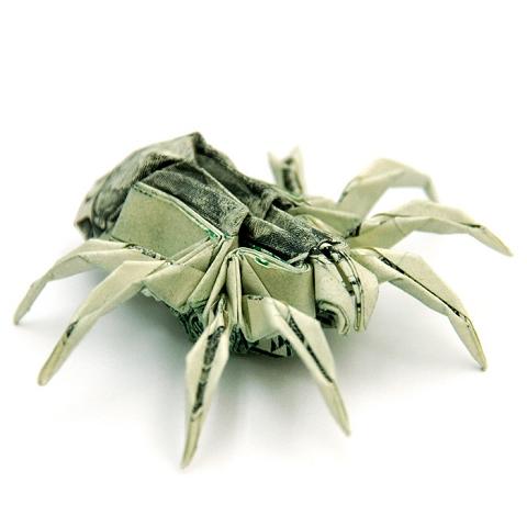 こちらはクモ。1ドル札2枚で作成