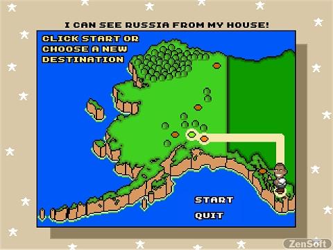 マップ選択。アラスカ州をテーマにしている。あるマップの名前は「私の家からロシアが見える」って、ちょ、おま。