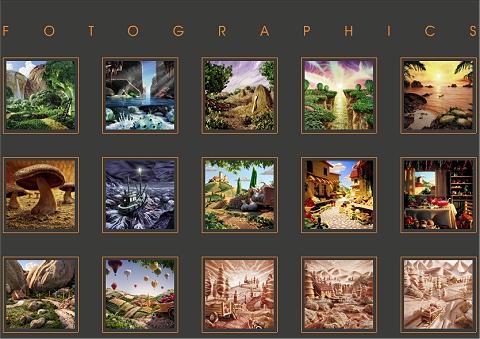 作品一覧。ごく普通の、色あでやかなクリア系のカラー写真かCGによる作品のように見えるが……