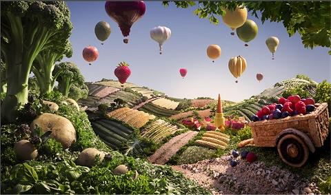気球が浮かぶ田園風景……!?