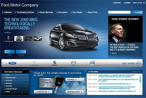 フォードの公式ページ。右側上部に目立つ形で「計画を提示します」のメッセージ