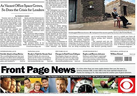 該当する「NYT初のトップページ広告」