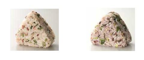 青菜たらこしらすおにぎり~赤五穀米(左)と生姜高菜おにぎり~黒五穀(右)