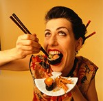 日本食を食らう外国人観光客イメージ