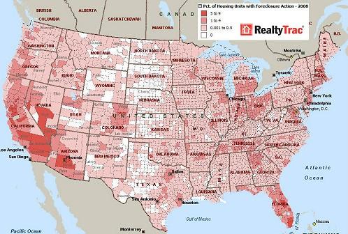 Realty Trac社による、もう少し細かい地図。一部の州では州全体というよりは、特定地域で差し押さえが進行していることが分かる。