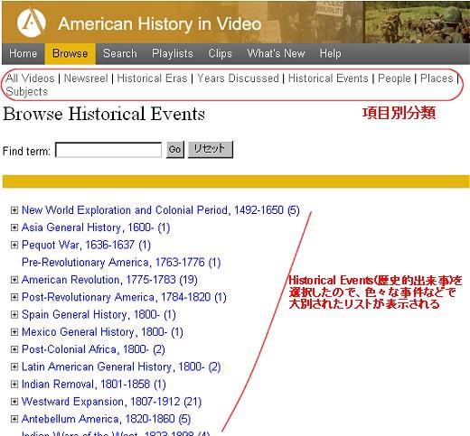主要項目から「歴史的出来事」を選択