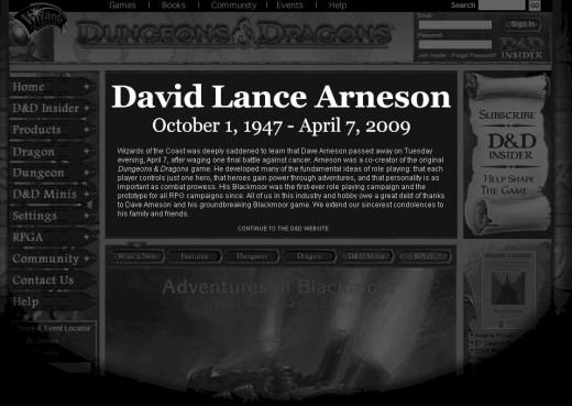 デイビッド・ランス・アーンソン氏の逝去を伝える告知。公式ページトップに掲載。