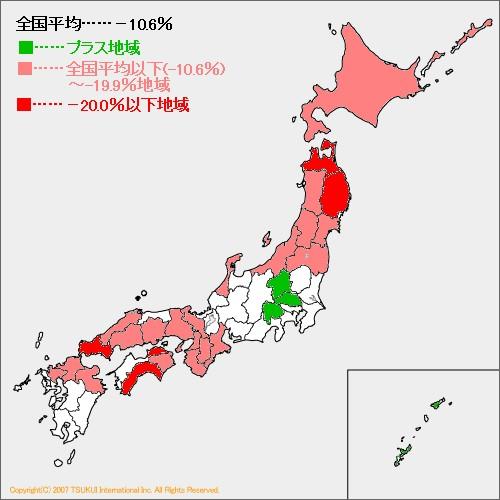 県別1996年から2006年の10年間の産婦人科医医師の推移で、プラス地域と全国平均以下を2区分で色分けしたもの。