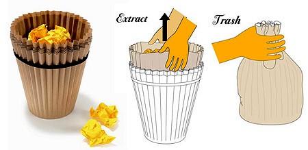 カップケーキのカップのような「紙製ゴミ箱」