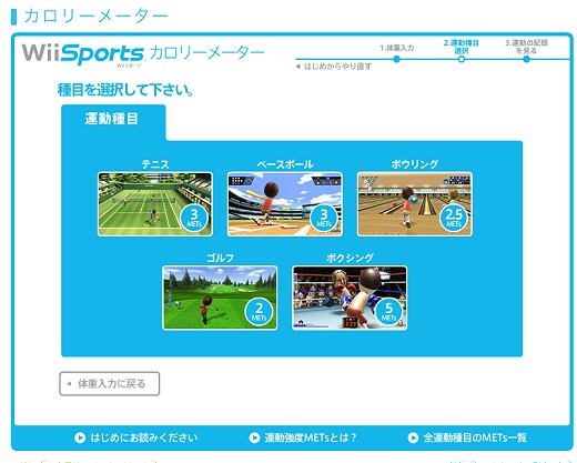 Wii Sports カロリーメーター