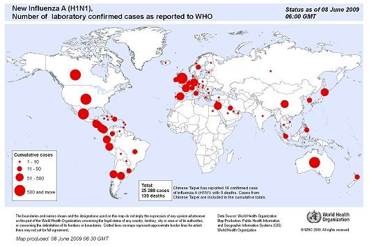 WHO発表の2009年6月8日現在における確認済み感染者数