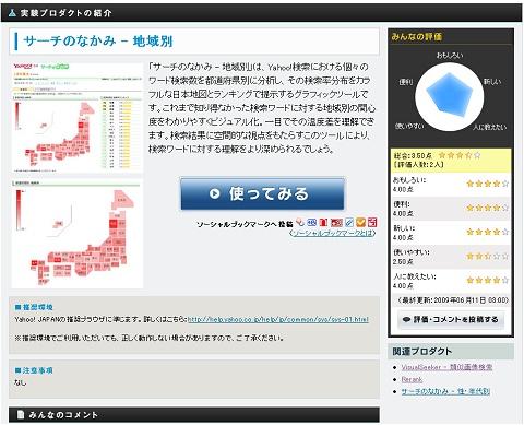 各プロダクトの詳細説明。評価やコメントも可能。
