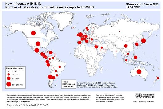 WHO発表の2009年6月11日現在における確認済み感染者数