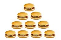 マクドナルドのシンプルなハンバーガー10個分イメージ