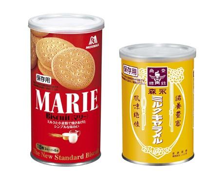 長期保存可能な『マリー缶』、『ミルクキャラメル缶』