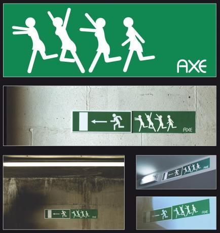 AXEのゲリラ広告「AXEを使うとみんなにモテモテモード」